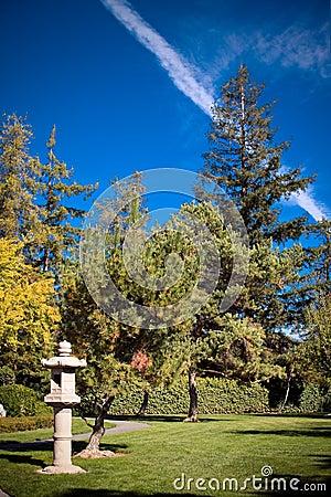 Japanese stone lanterns, Japanese Garden blue sky