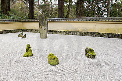 Japanese Stone and Sand Garden Tiled Roof Wall
