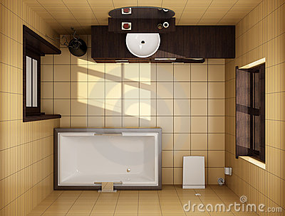 Japanese Style Bathroom Top View Royalty Free Stock Photo: top view of bathroom