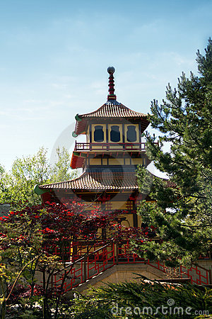 Japanese style temple in British park