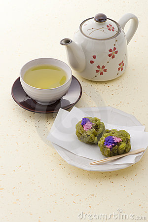 Japanese tea and japanese confectionery