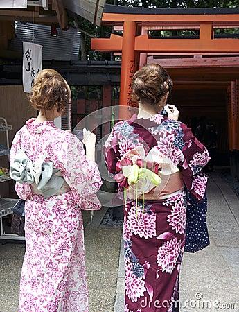 Japanese Teens at Fushimi Inari Editorial Photo