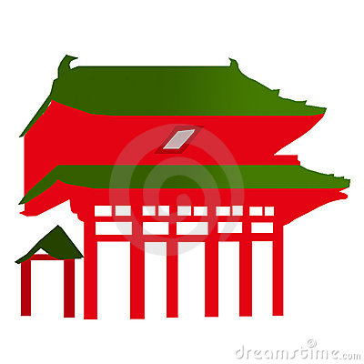 Japanese Temple Entrance - Vector
