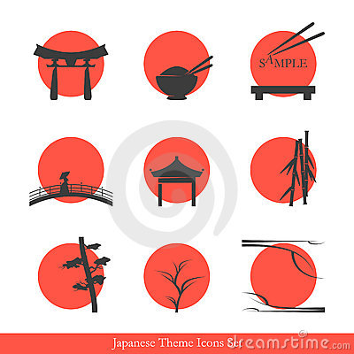 Japanese theme icons set