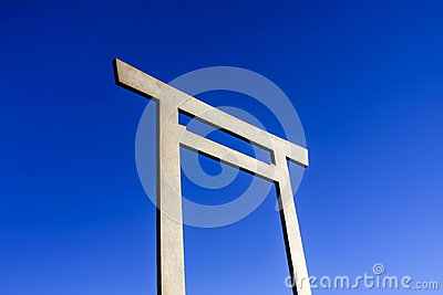 Japanese Torii on blue sky