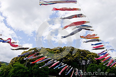 Japanese traditional colorful carp-shaped streamers