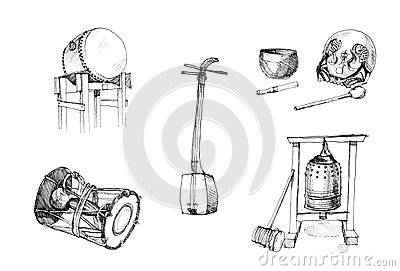 Japanese traditional instruments drawing drums, gu