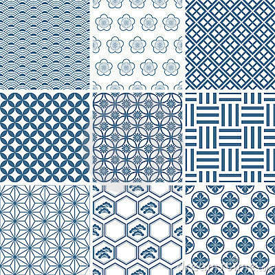 Free Japanese Traditional Pattern Set Royalty Free Stock Images - 15421869