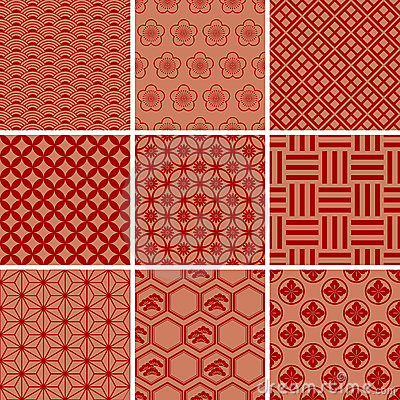 Free Japanese Traditional Red Pattern Set Royalty Free Stock Photography - 15425427