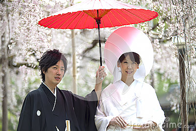 Japanese traditional wedding costum Editorial Photography