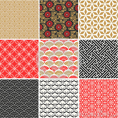 Free Japanese Vector Seamless Patterns Set Royalty Free Stock Photos - 40212238