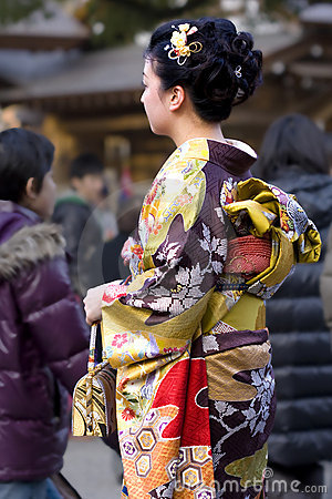 Japanese woman kimono temple Editorial Photography