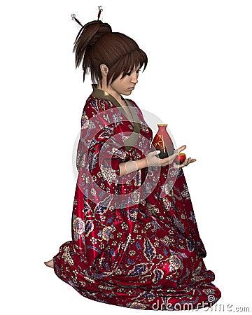 Japanese Woman with Saki Jug