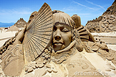 Japanese Woman Sand Sculpture Editorial Photo - Image ...
