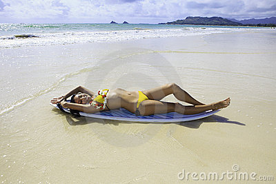 Japanese woman with surfboard