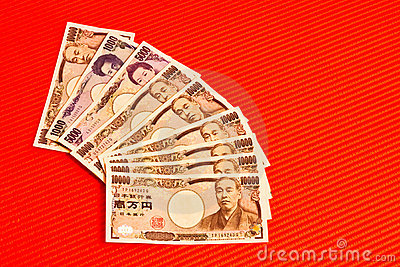 Japanese yen notes on red