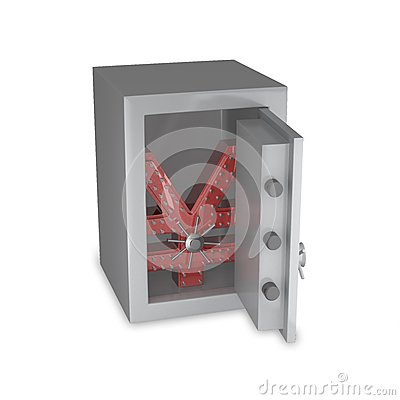 Japanese Yen symbol in a safe