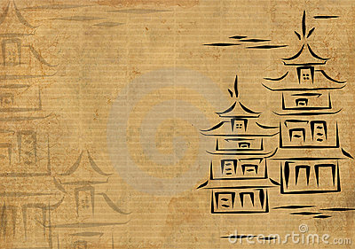 japanische h user gezeichnet durch tinte auf einem. Black Bedroom Furniture Sets. Home Design Ideas