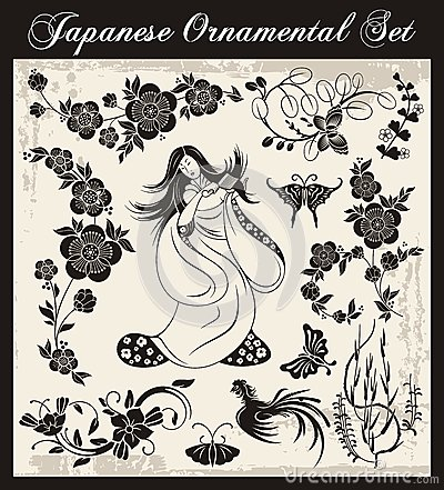 Japanische traditionelle verzierungen eingestellt for Traditionelle japanische architektur