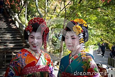 Japansk Geisha Redaktionell Arkivfoto