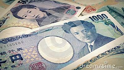 Japonais Yen Banknotes Rotating banque de vidéos