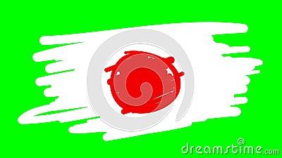 Japonia rysuje flagę na zielonym tle ilustracji