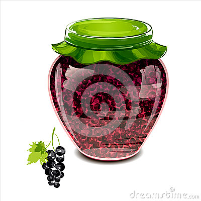 Jar of black currant jam