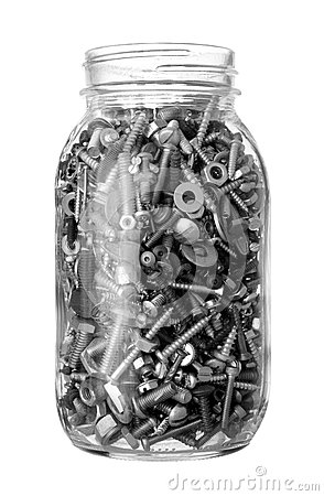 Jar of bolts, nuts and screws