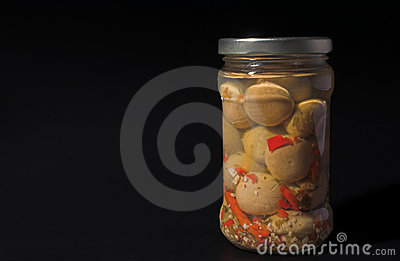 Jar of champignon mushrooms