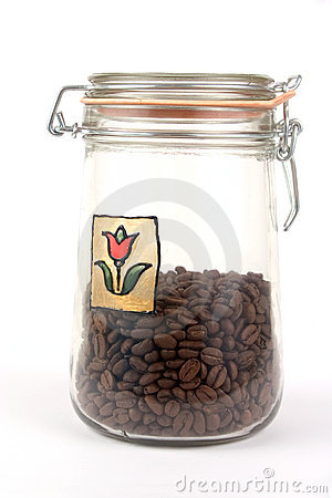 A jar with coffee beans
