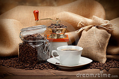 Jar Of Coffee And Coffee Cup Stock Photos - Image: 18168503