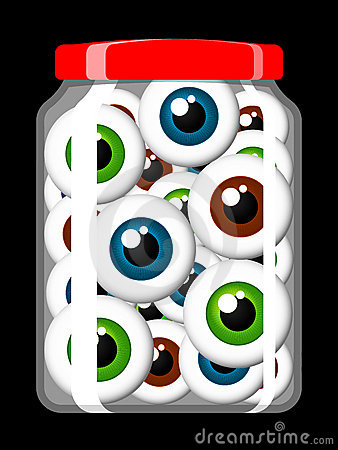 Jar filled with eyeballs
