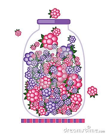 Jar with fruit jam design