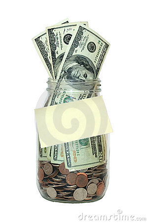 Jar Full of Money, Blank Note, Saving Isolated