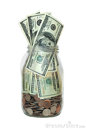 Jar Full Of Money, Saving Concept, Isolated