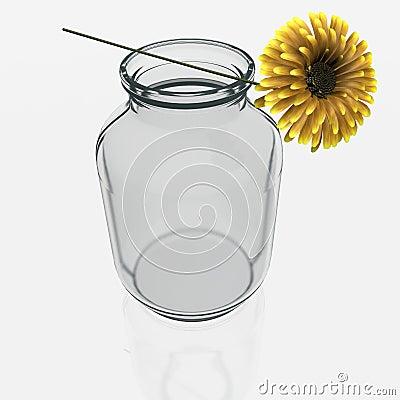 Jar with a gerber flower