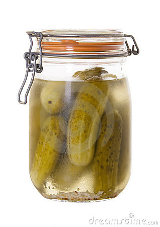 Jar Of Homemade Dill Pickles Isolated