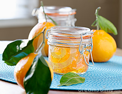 Jar of homemade orange jam