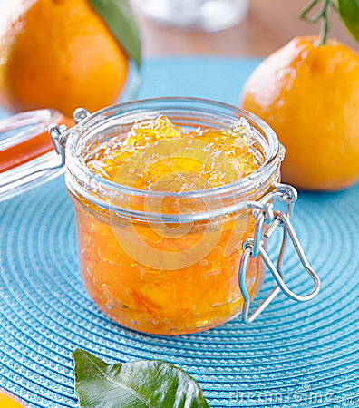 Jar of homemade orange preserves
