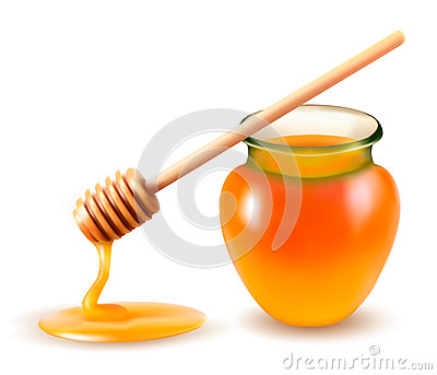 Jar of honey and a dipstick.