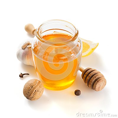 Free Jar Of Honey On White Background Royalty Free Stock Images - 103701129