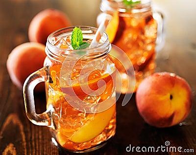 Jar of peach tea