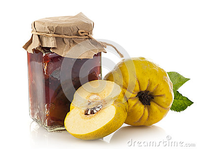 Jar of quince jam Stock Photo