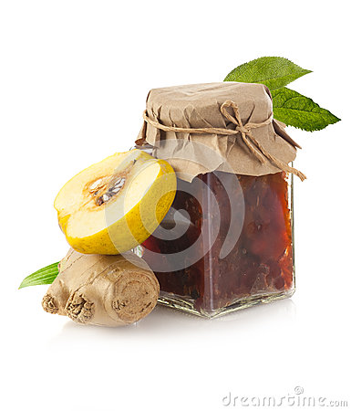 Jar of quince jam with ginger and quince fruit Stock Photo