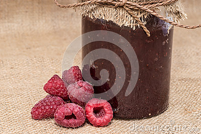 Jar with Raspberry Jam