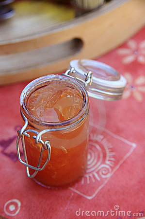 Jar of tomato jelly