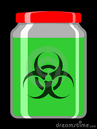Jar with toxic liquid and biohazard symbol