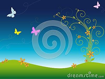 Jardín colorido de la primavera