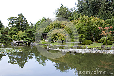 Jardim japonês com uma porta tradicional