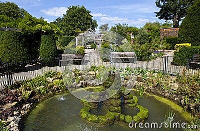 Jardim murado no parque de Brockwell, Brixton.
